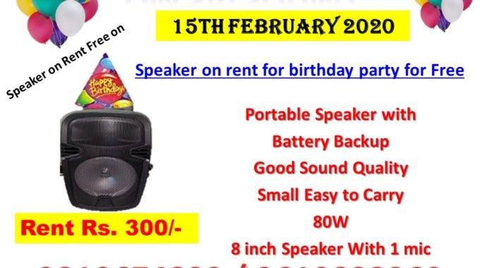 Bluetooth speaker on rent for birthday party for Free